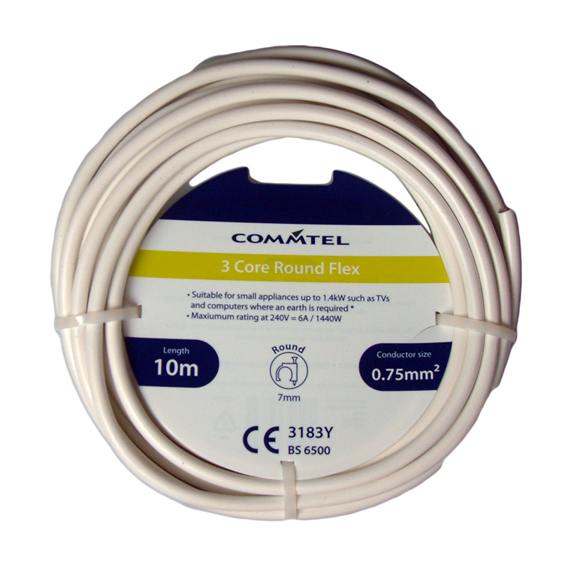 Commtel 3 Core Round Flex 10m 0.75mm2