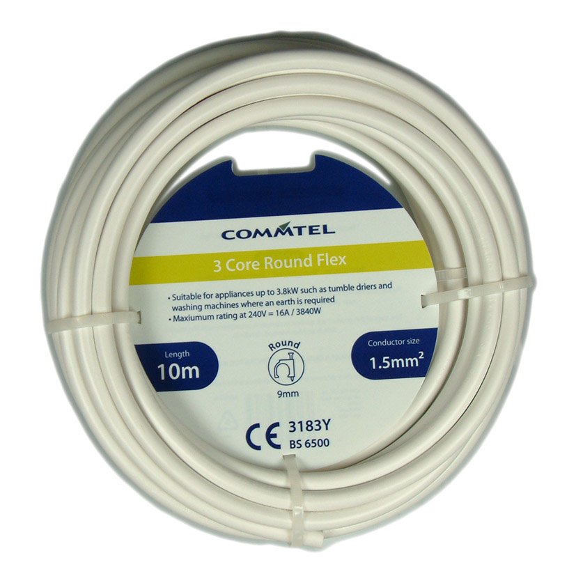 Commtel 3 Core Round Flex White 10m 1.5mm2