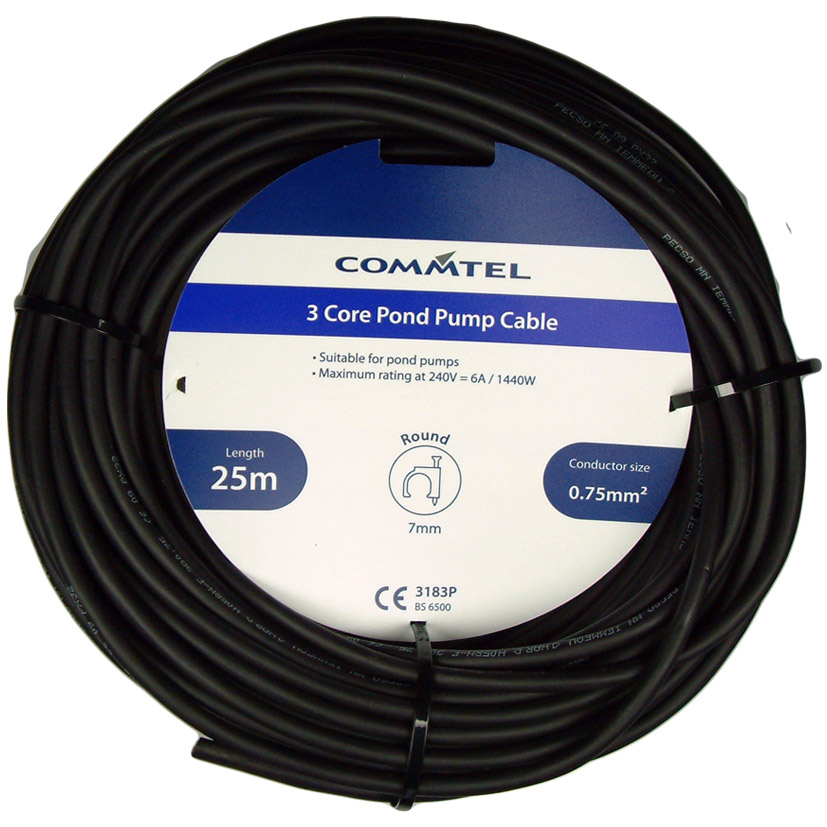 Commtel 3 Core Pond Pump Cable 25m