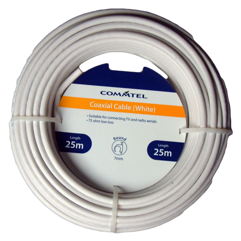 Commtel White Coax Cable 25m
