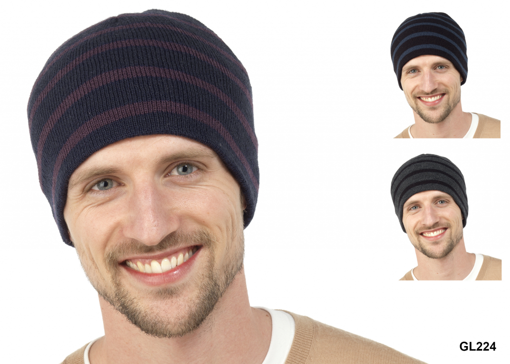 RJM Adults Beanie Striped Hat
