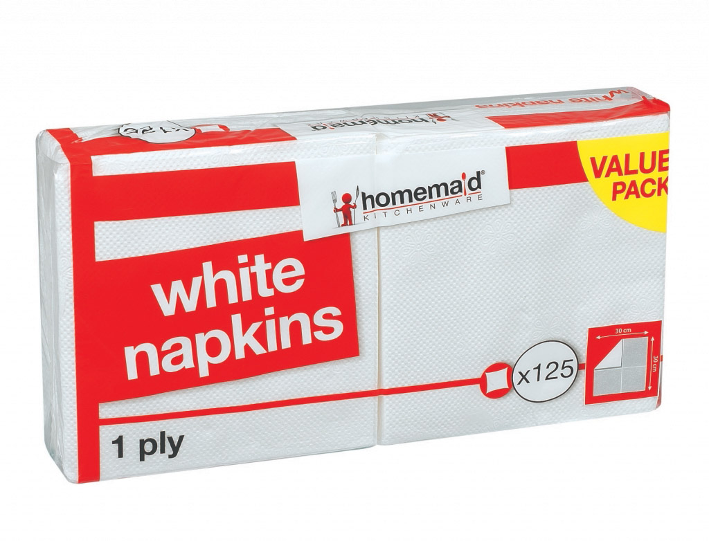 Homemaid Kitchenware White Napkins - 1 PLY Pack 125