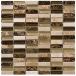 Verona Marble + Glass Mix Mosaic Sheet Tile - 326 x 272mm