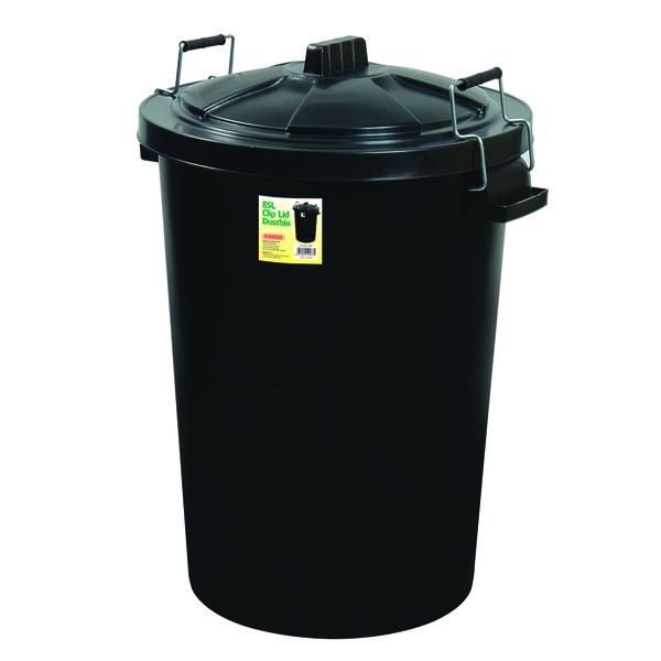 Proplas 90L Clip Lid Dustbin - Black
