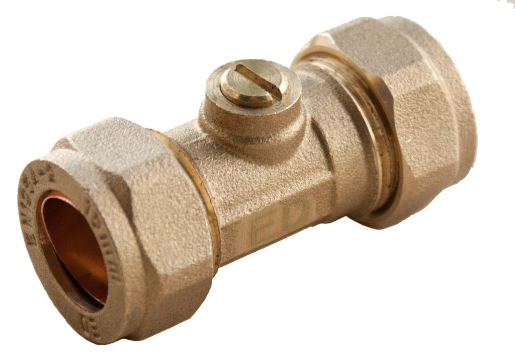 Oracstar Compression Isolating Valve - 15 x 15mm Slotted Brass