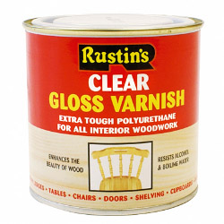 Rustins Polyurethane Gloss Varnish 250ml - Clear - Gloss