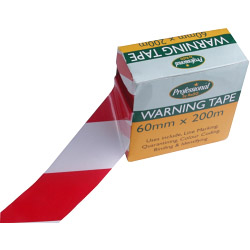 Rodo Red/White Warning Tape - 60mm x 200m