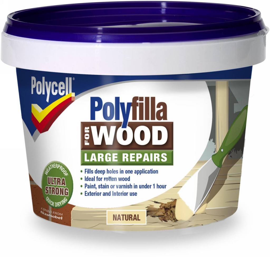 Polycell Polyfilla Wood Large Repair - 250gm Natural Tub