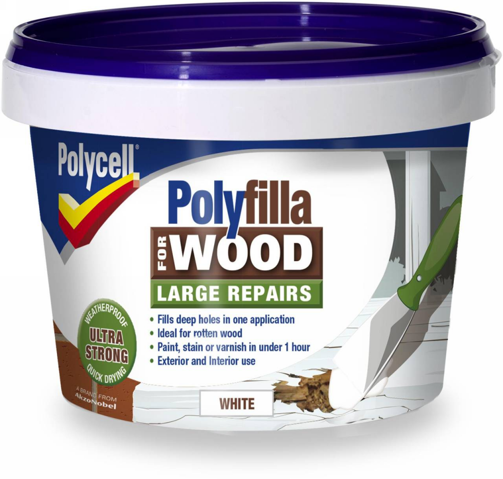 Polycell Polyfilla Wood Large Repair - 250gm White Tub