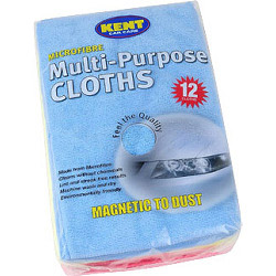KENT 12 Microfibre Multi Purpose Cloths