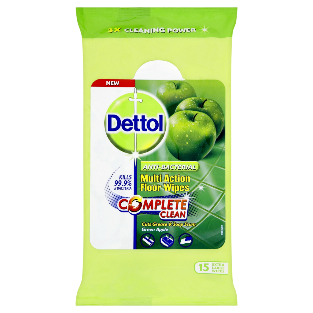Dettol Multi Floor Wipes x 15 - Green Apple