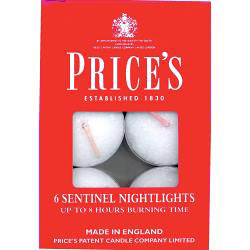 Price's Candles Sentinel Nightlights - Pack 6