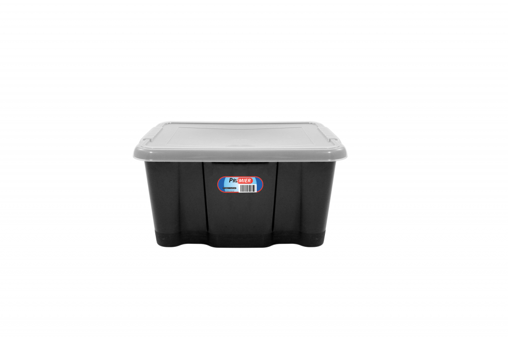 Premier Storage Box Black Base And Clear Lid - 24Lt