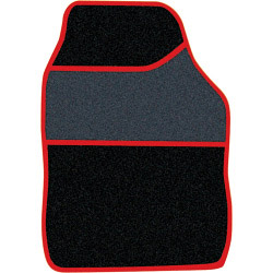 Streetwize Velour Carpet Mat Sets with Coloured Binding - 4 Piece - Black/Red