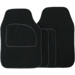 Streetwize Velour Carpet Mat Sets with Coloured Binding - 4 Piece - Black/Black