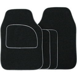 Streetwize Velour Carpet Mat Sets with Coloured Binding - 4 Piece - Black With Grey Piping