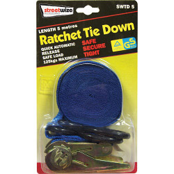 Streetwize Ratchet Tie Down with S Hook - 5m