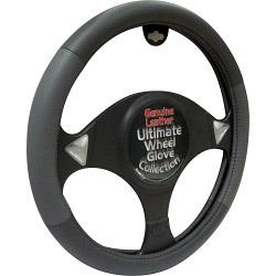 Streetwize Steering Wheel Glove - Black/Grey Genuine Leather