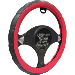Streetwize Steering Wheel Glove - Black/Red - Sports Grip
