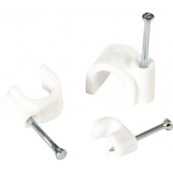 SupaLec White Cable Clips - Round 4mm
