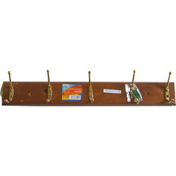 Ashley Housewares 5 Hook Hat and Coat Rack Antique Pine