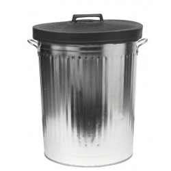 Galvanised Dustbin with Rubber Lid