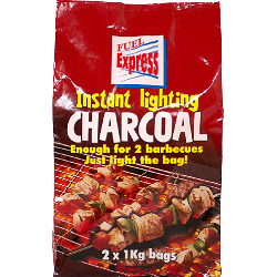 Fuel Express Instant-Light Lumpwood Charcoal - 2 x 1kg bags