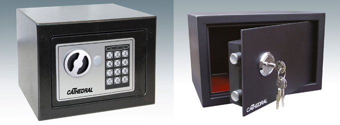 Cathedral Electronic Locking Safe - Black Interior dimensions 225mm x 162mm x 195mm Weight 4kg