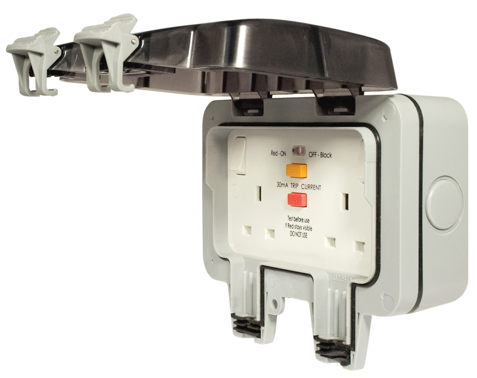 BG Weatherproof IP66 2 Gang 13A DP RCD Switched Socket - Latching